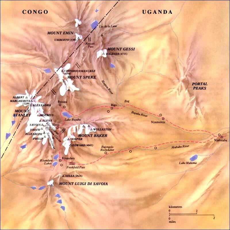 Hlavní hory a vrcholy pohoří Rwenzori