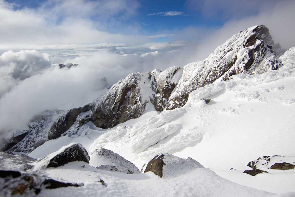 Sníh a led na nejvyšších vrcholem pohoří Rwenzori