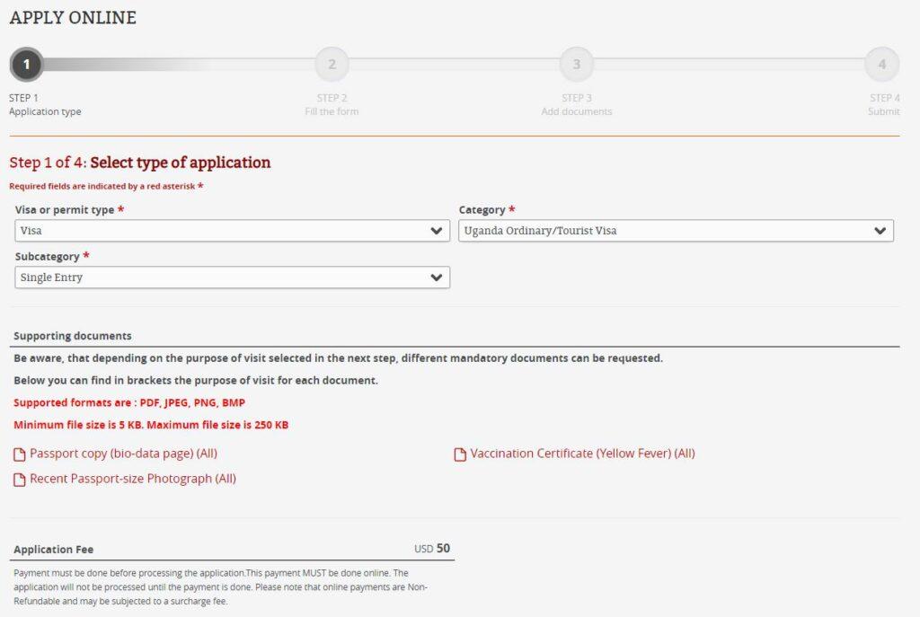 Elektronická žádost o vízum do Ugandy