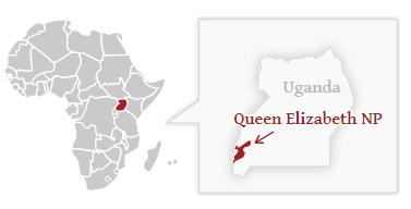 Poloha národního parku Queen Elizabeth na mapě Ugandy