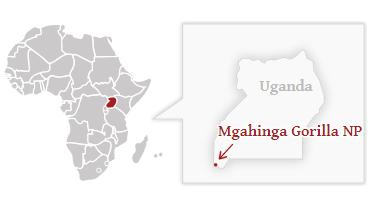 Národní park Mgahinga - poloha na mapě Ugandy