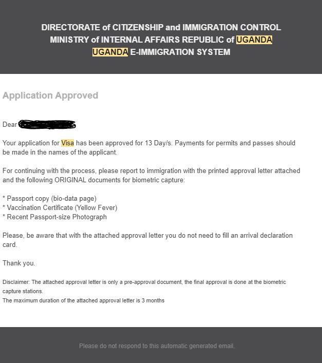 Potvrzení o schválení elektronické žádosti o vízum do Ugandy