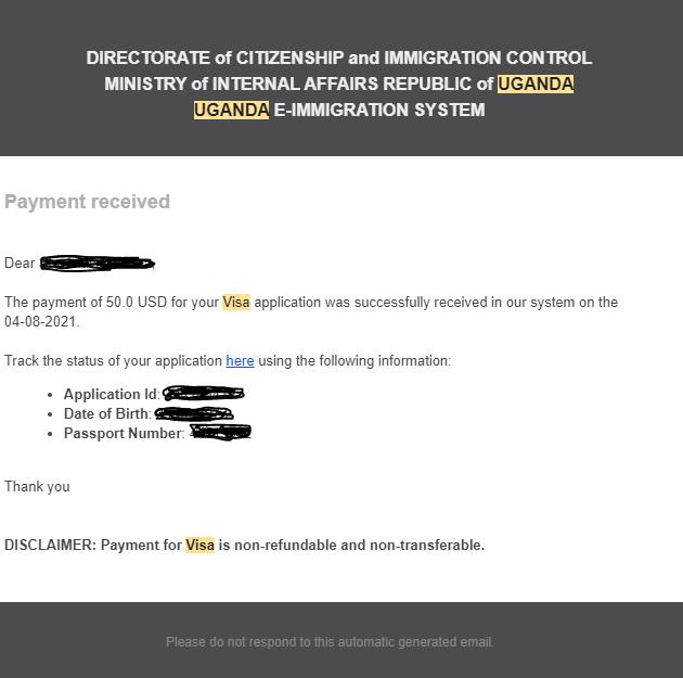 Potvrzení o úhradě vízového poplatku