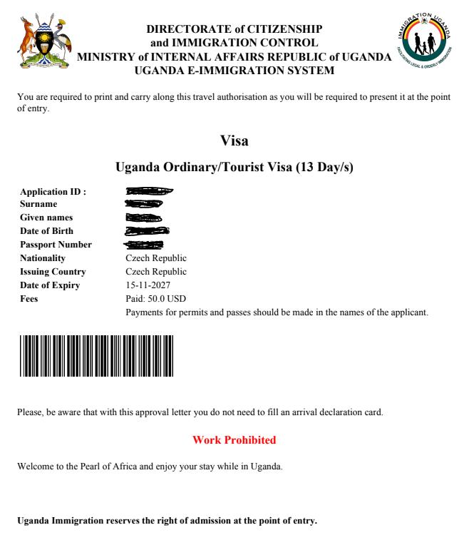 Visa Approval Letter - elektronické předschválení víza do Ugandy