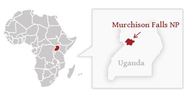 Národní park Murchisson Falls - poloha na mapě Ugandy