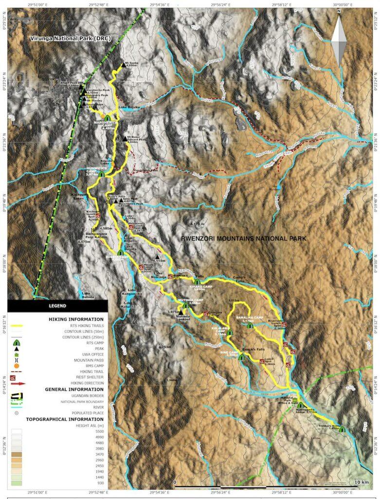 Mapa pohoří Rwenzori zobrazující trasy, kempy a vrcholy